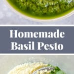 A collage of photos of homemade basil pesto in a white bowl and the ingredients in a food processor.
