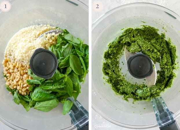 Step by step pictures of how to make homemade basil pesto in the food processor.