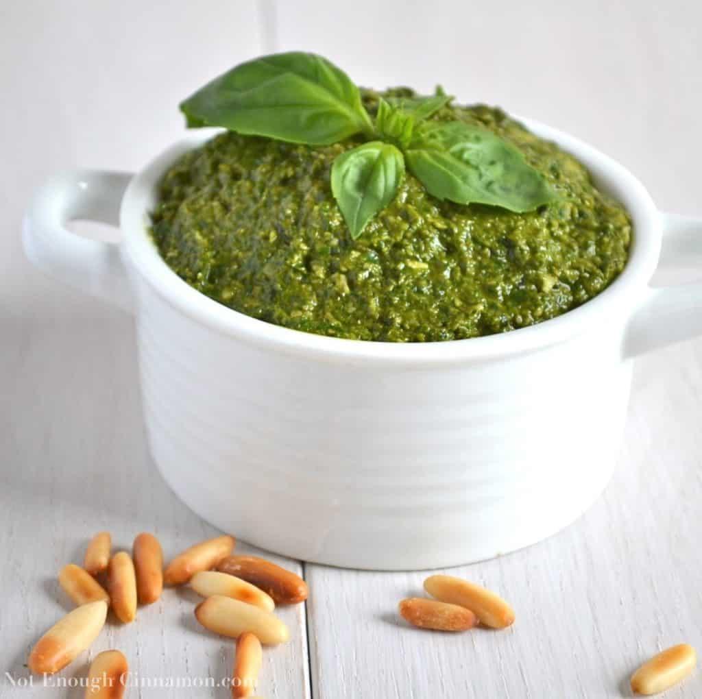 Homemade Basil Pesto in a white bowl