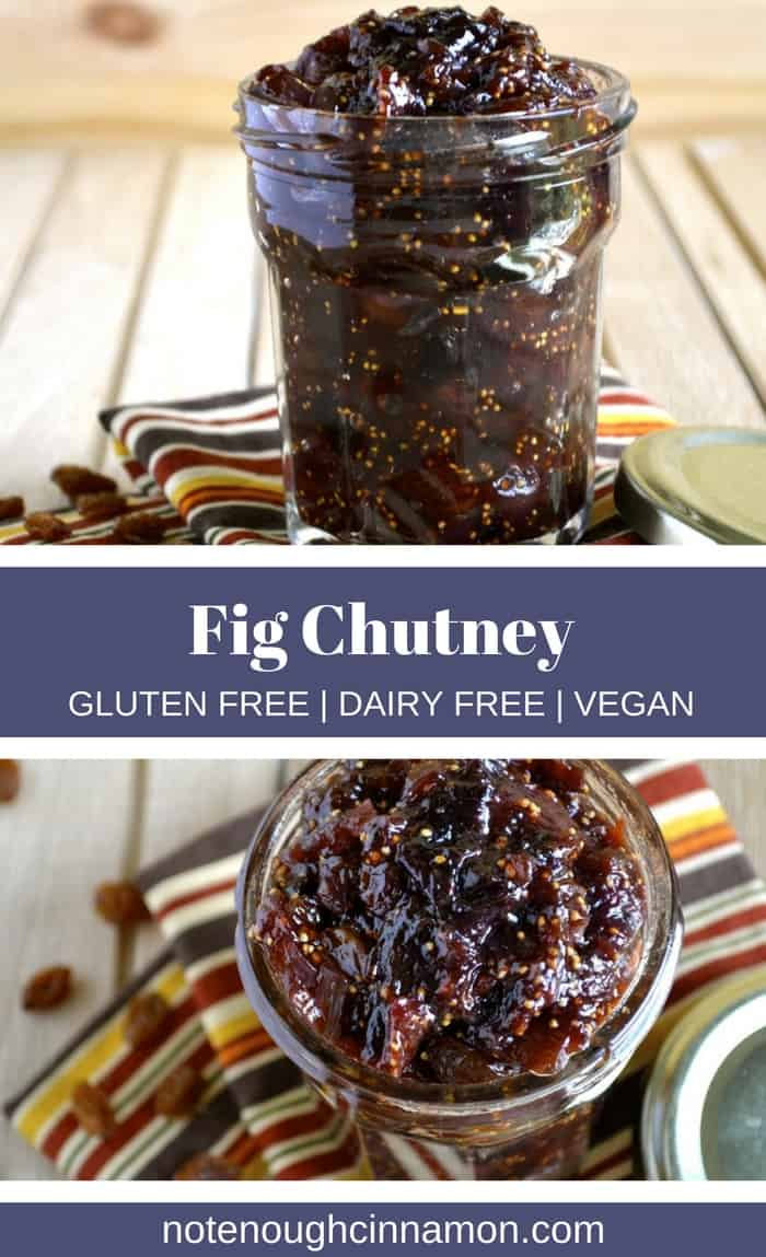 Fig Chutney | This sweet Fresh Fig Chutney with raisins and apples is the perfect accompaniment to white meat, cheese platters and charcuterie boards.  Seasoned with warming spices like cloves and ginger, it also makes for a great DIY Christmas gift idea. #chutney, #christmas, #easy, #spiced