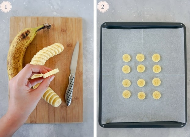 Step by step pictures on a banana being cut on a cutting board and banana slices arranged on a baking tray.