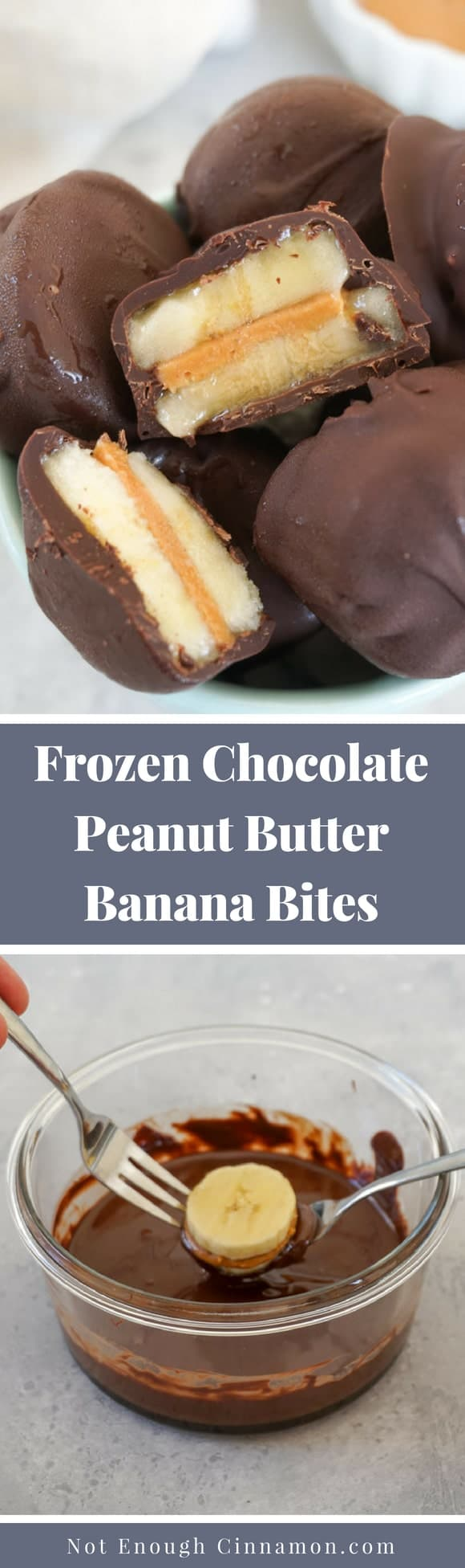You only need three ingredients to make these delicious healthy frozen chocolate peanut butter banana bites. They are super easy to make and always a hit with everyone!