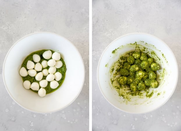 Collage of two pictures showing basil pesto and mozzarella balls in a white bowl, and mozzarella bowls covered in basil pesto in a white bowl.