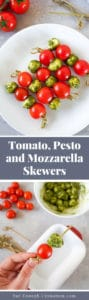 Collage of two photos showing tomato, pesto and mozzarella skewers on a white plate, and a hand holding a skewer being prepared.
