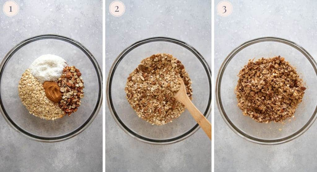 Three step by step photos to make healthy granola