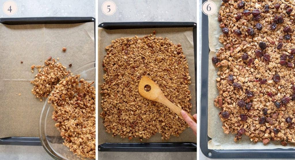 Three step by step photos to bake healthy granola with clusters