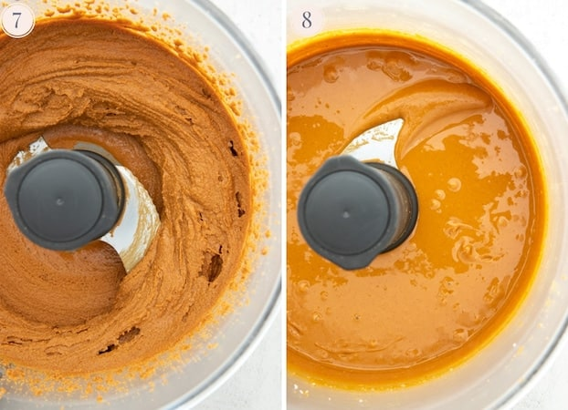 Step by step pictures showing the last stage of peanut butter being made in the food processor