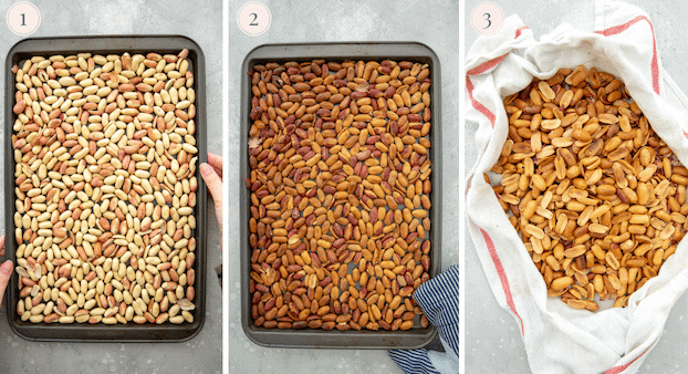 step by step pictures showing how to roast peanuts