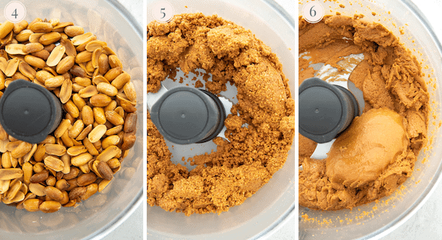 Step by step pictures showing peanuts in the food processor to make peanut butter