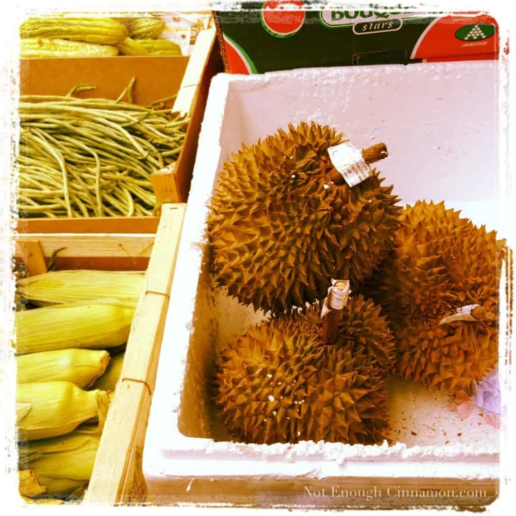 durian fruit in a white styrofoam box ready to be sold