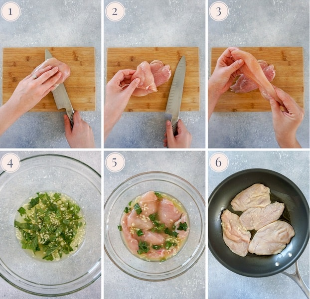 Photo collage of step by step instructions to make lemon basil chicken breasts