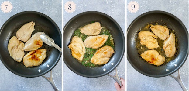Three step by step photos to make lemon basil chicken