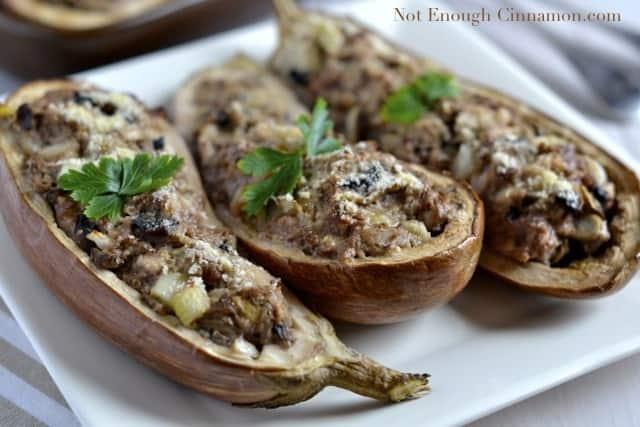 Beef, Turkey and Mushroom Stuffed Eggplant