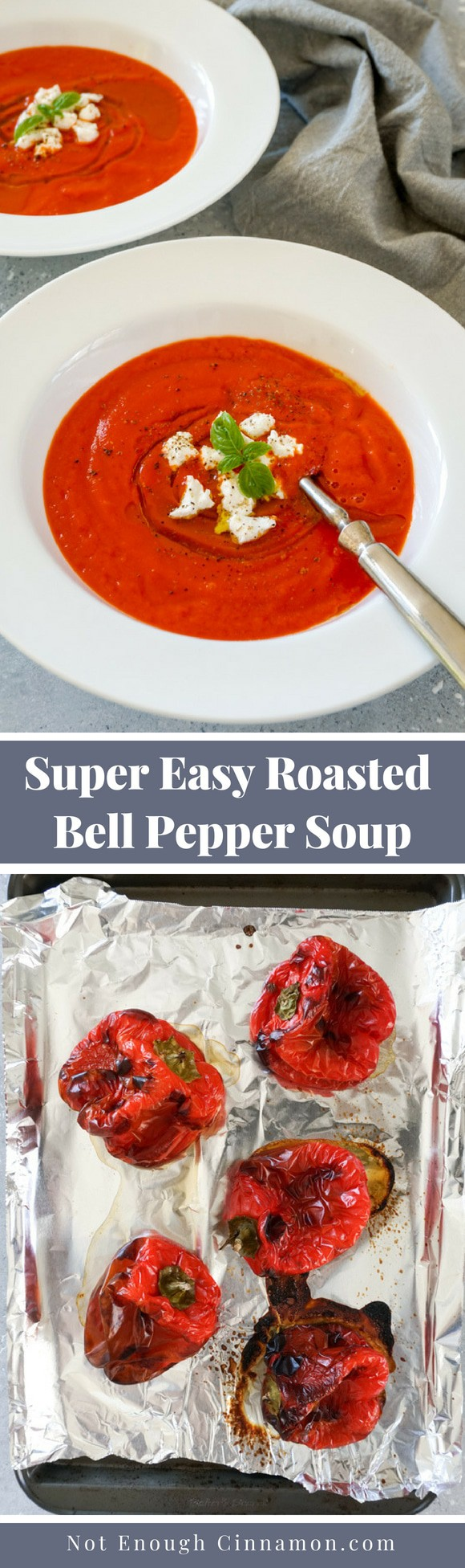 A super easy bell pepper soup made with only 3 ingredients: red bell peppers, roasted in the oven until they are tender, crushed tomatoes and vegetable stock. Recipe on NotEnoughCinnamon.com #cleaneating #easyrecipe #souprecipe #whole30 #whole30recipe #paleo #glutenfree