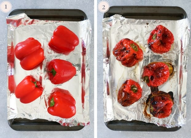 Collage showing how to roast bell peppers