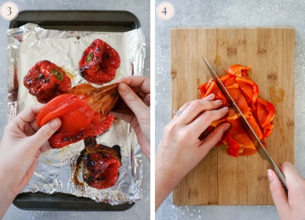 Collage showing how to peel and cut roasted bell peppers