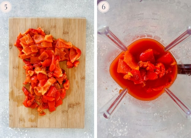 Collage showing how to make roasted bell pepper soup in the blender