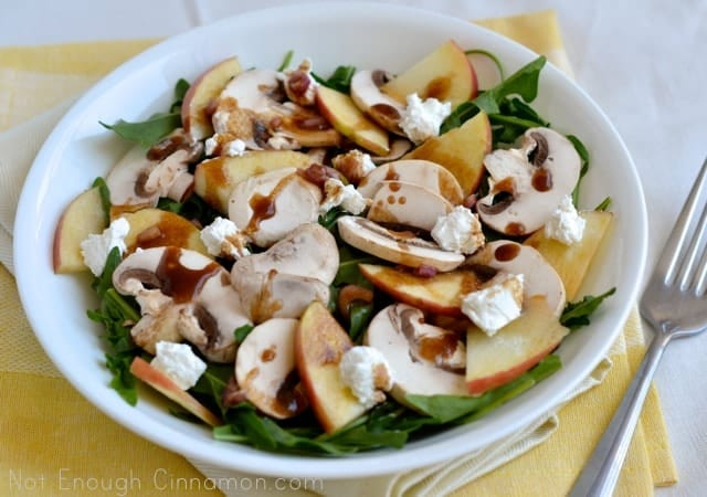 Mushroom, Apple and Goat Cheese Salad with Honey-Balsamic Dressing