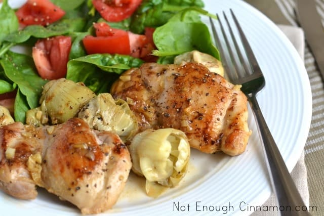 Artichoke Hearts Glazed Chicken Thighs
