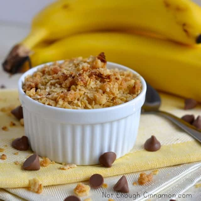 Banana Chocolate Chips Crisp served in an individual ramekin