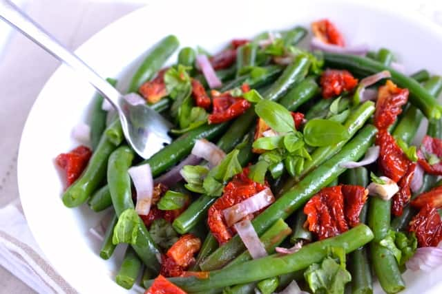 Green Bean Salad with Sun Dried Tomatoes and Basil