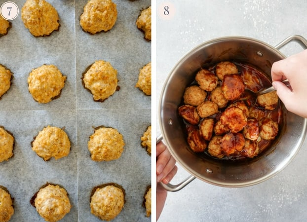 Baked chicken meatballs on a baking sheet and meatballs in a pot mixed with sauce
