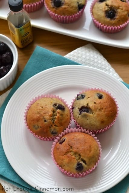 Three Blueberry Banana Bread Muffins on a white plate with a tray of muffins and fresh blueberries in the background