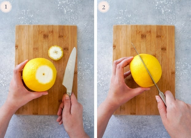 Grapefruits being cut on a cutting board