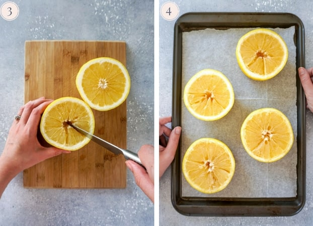 Grapefruits being cut into sections and placed on a lined baking sheet