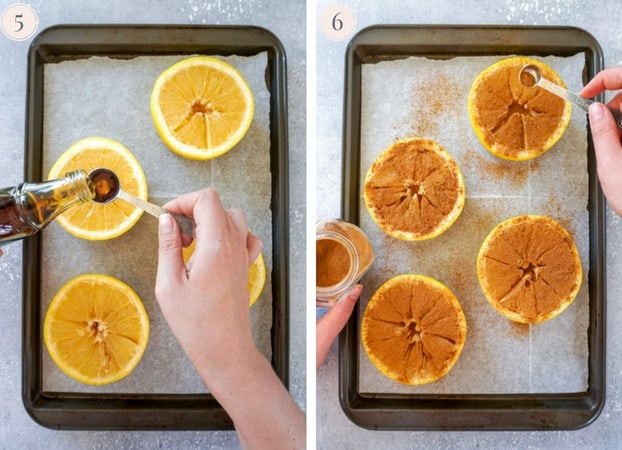 Grapefruits being drizzled with maple syrup and sprinkled with cinnamon