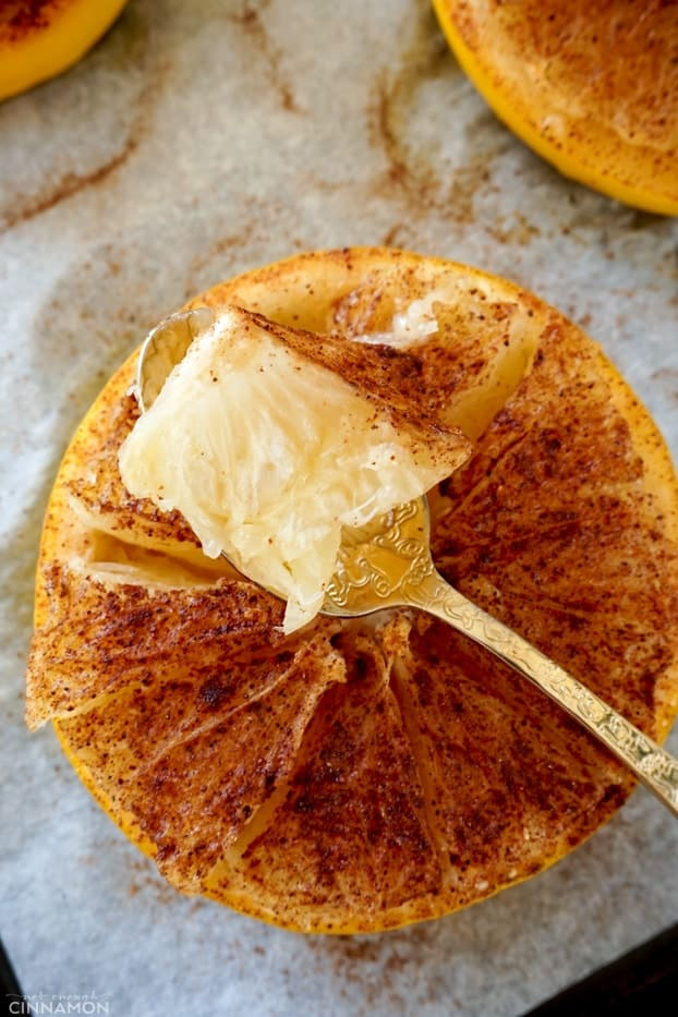 A piece of baked grapefruit flesh in a golden spoon over a baked half grapefruit