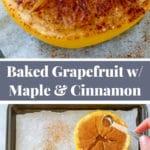 Pinterest collage for baked grapefruit recipe
