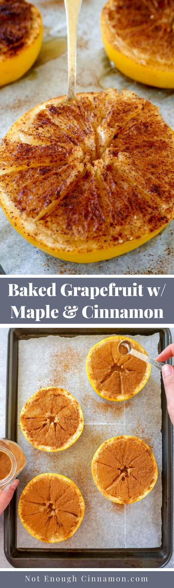 A super easy healthy breakfast or dessert, this baked grapefruit with maple syrup and cinnamon takes minutes to make. Recipe on NotEnoughCinnamon.com #glutenfree #refinedsugarfree #paleo #cleaneating #healthysnack #healthybreakfast #breakfastrecipe