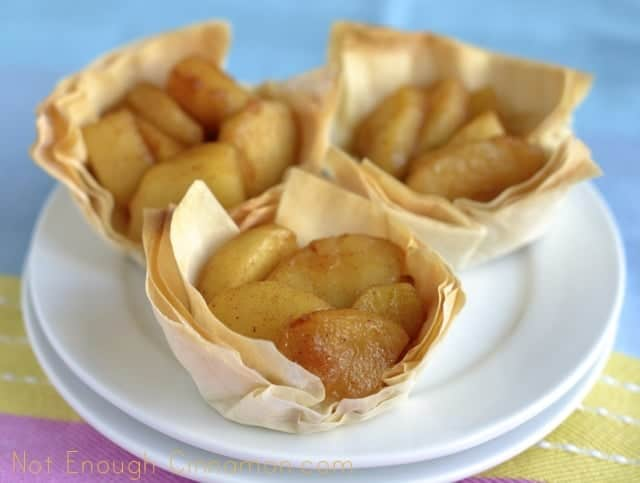 Caramelized Apple Phyllo Cups on a white plate