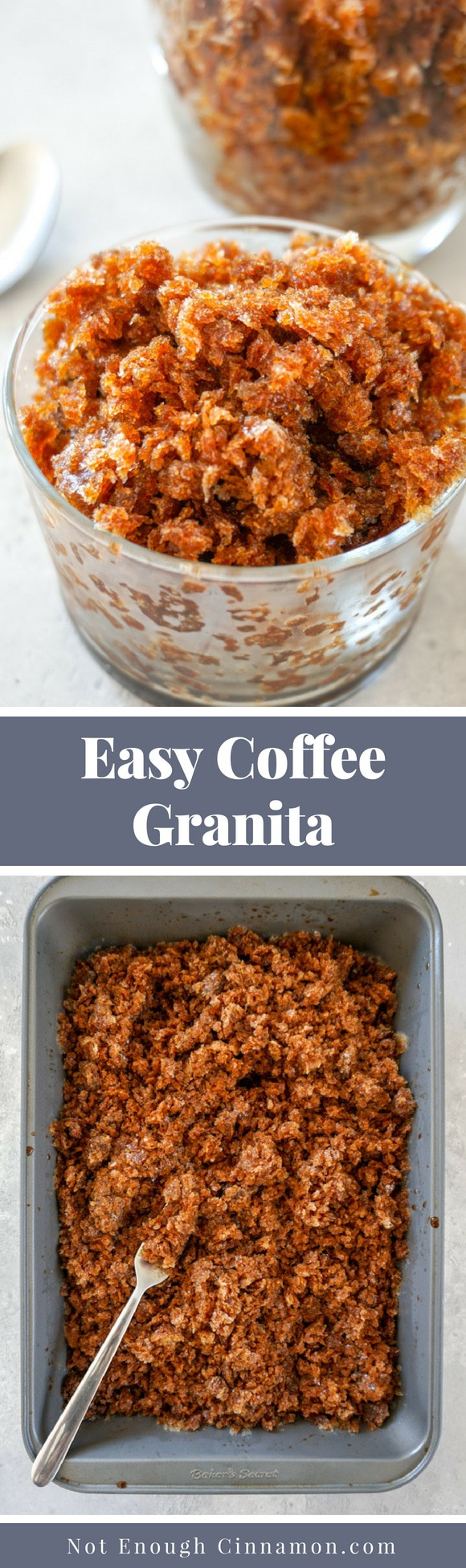 Coffee Granita: an easy pick-me-up summer dessert that you can make with only three ingredients. Refined Sugar Free too! Full step by step recipe on NotEnoughCinnamon.com #summerdessert #lightdessert #frozendessert #healthydessert #paleo #vegan #glutenfree