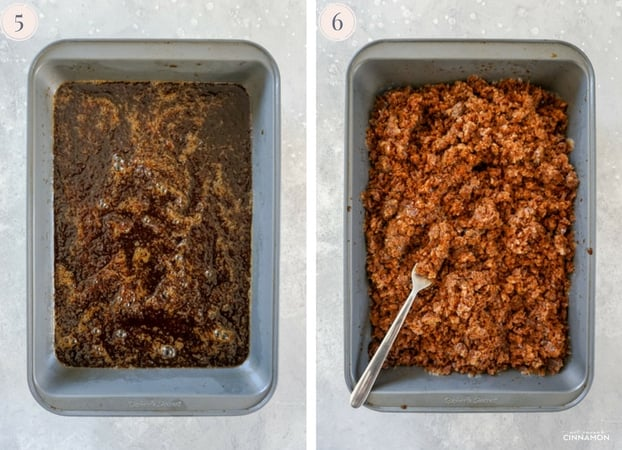 Collage of two step by step pictures to make coffee granita, showing granita in a metal pan.