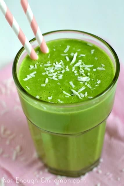 Coconut Pineapple Green Smoothie {Dairy Free} - Not Enough Cinnamon