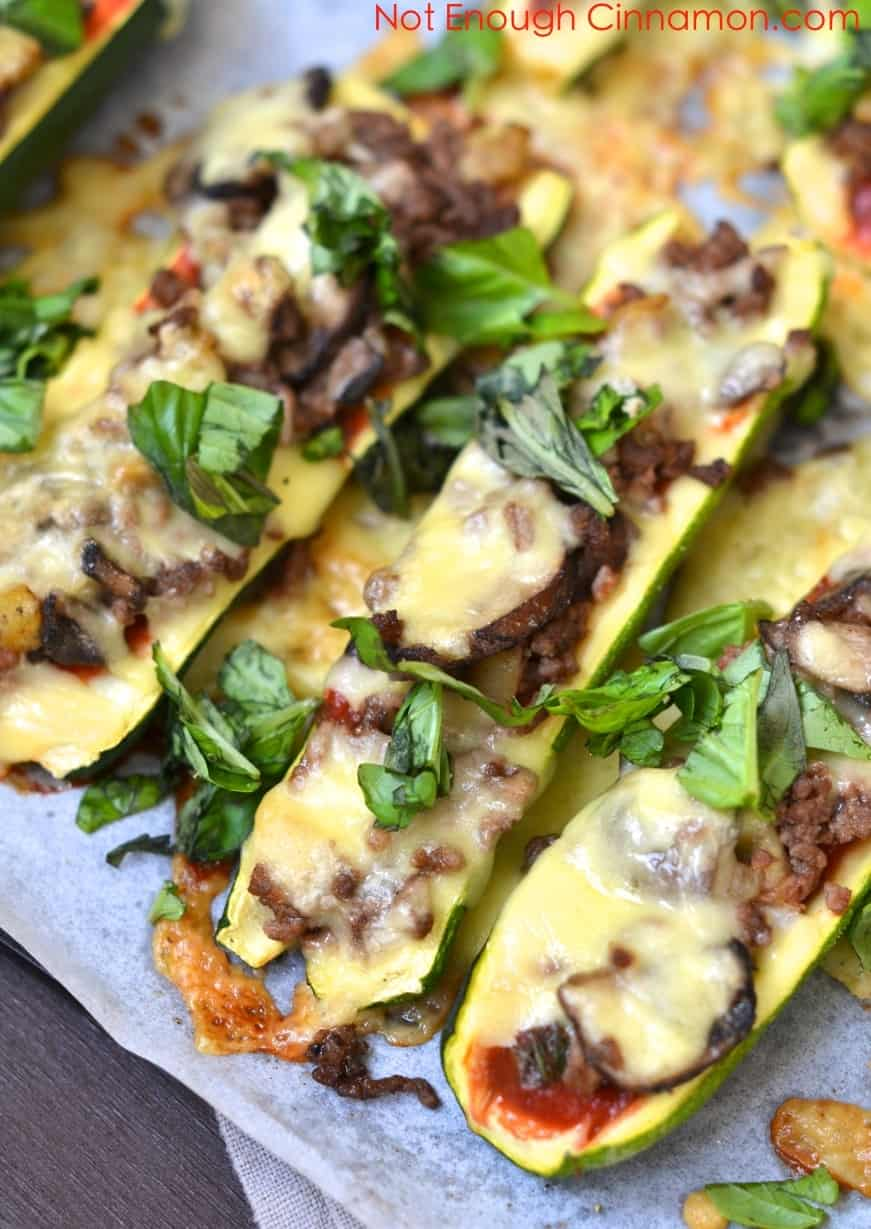 Cheesy Beef and Mushroom Zucchini Boats - NotEnoughCinnamon.com