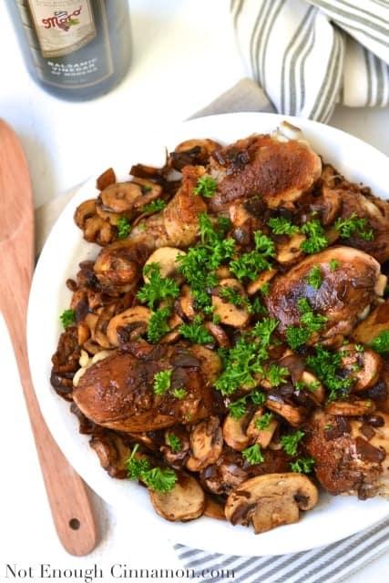 Chicken Drumsticks in a Mushroom and Shallot Balsamic Sauce - NotEnoughCinnamon.com