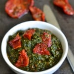 Basil and Sun-dried Tomatoes Pesto served in a white bowl