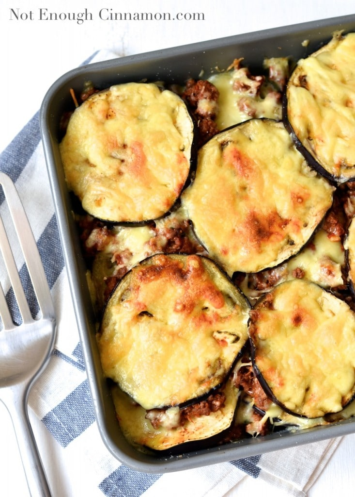 Beef and Eggplant Casserole with plenty of melted mozzarella on top served in a casserole dish