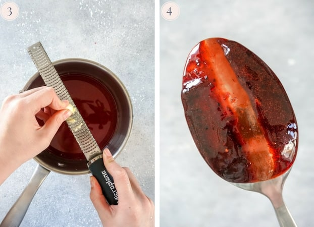 Garlic grated with a microplane and the back of a spoon coated with pomegranate glaze