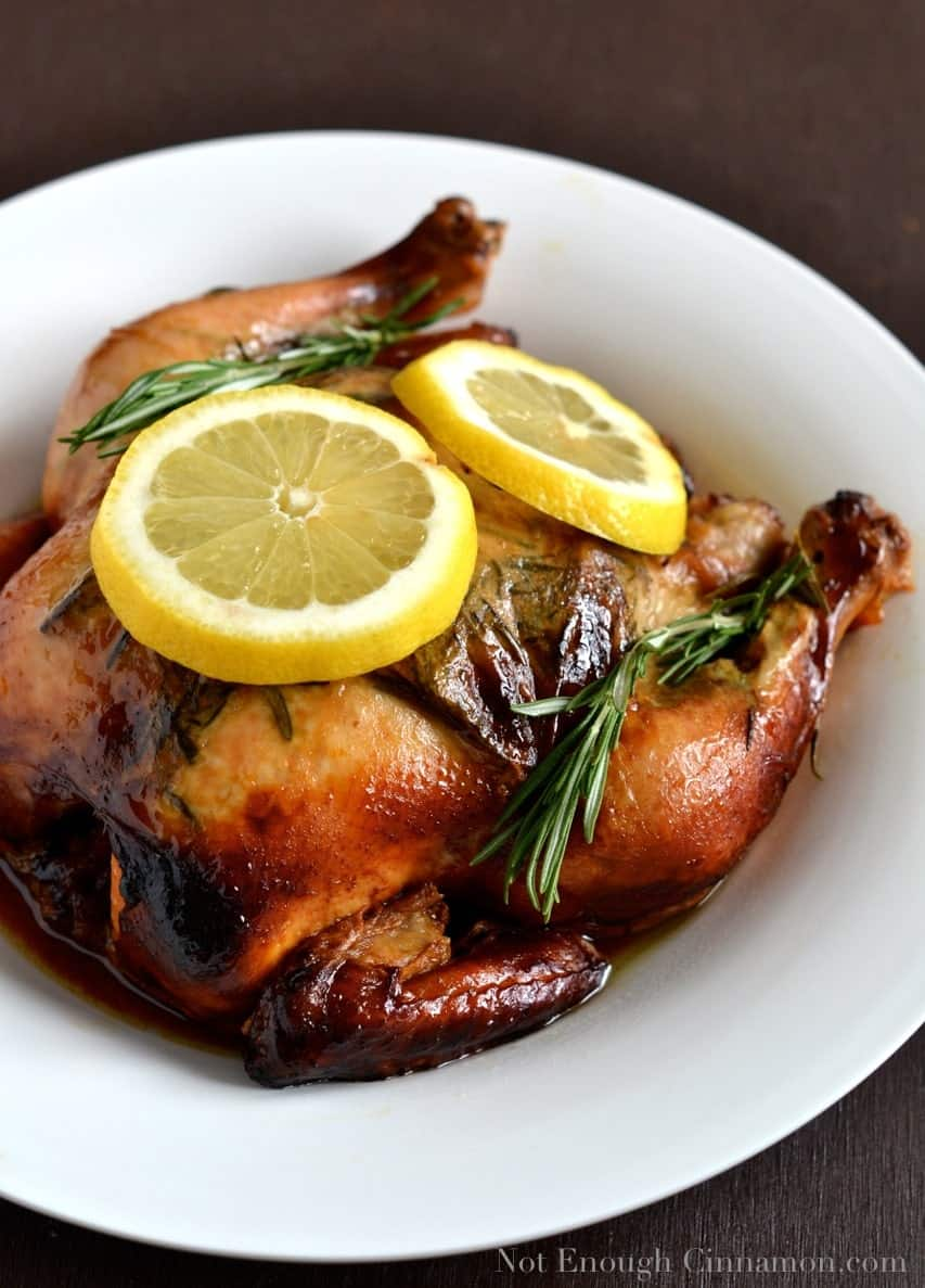 Slow Cooker Lemon and Rosemary Whole Chicken