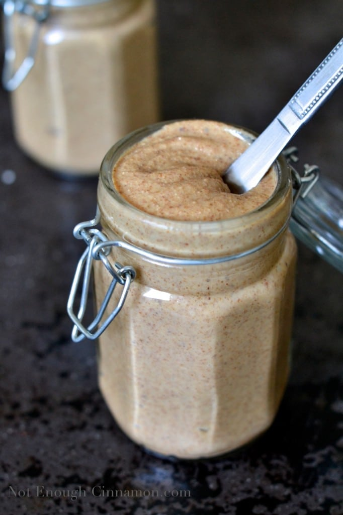 Homemade almond butter in a jar - How to make almond butter