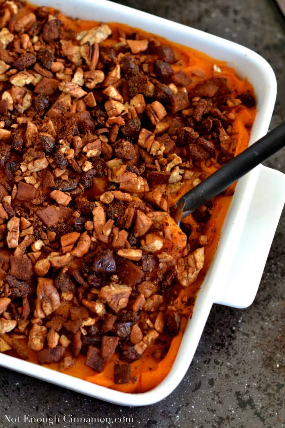 Sweet Potato Casserole with Pecans, Cranberries and Bacon