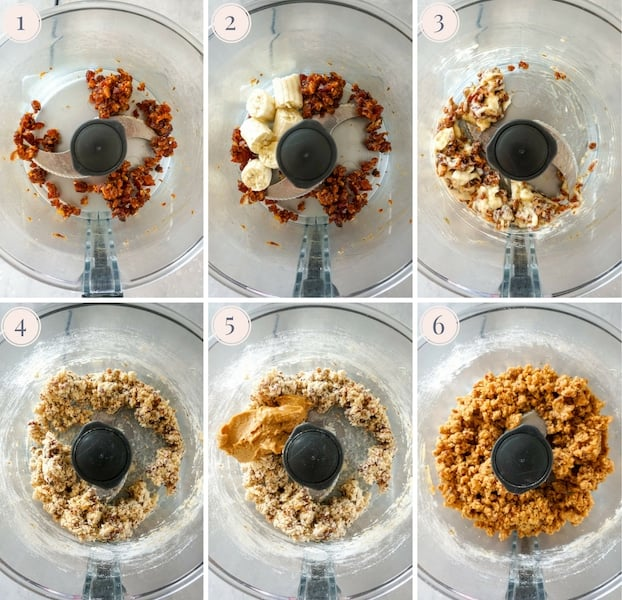 Step by step photos to make paleo energy bites in the food processor
