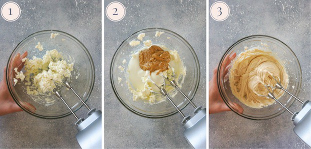 Collage of step by step pictures to make peanut butter and chocolate chips fruit dip