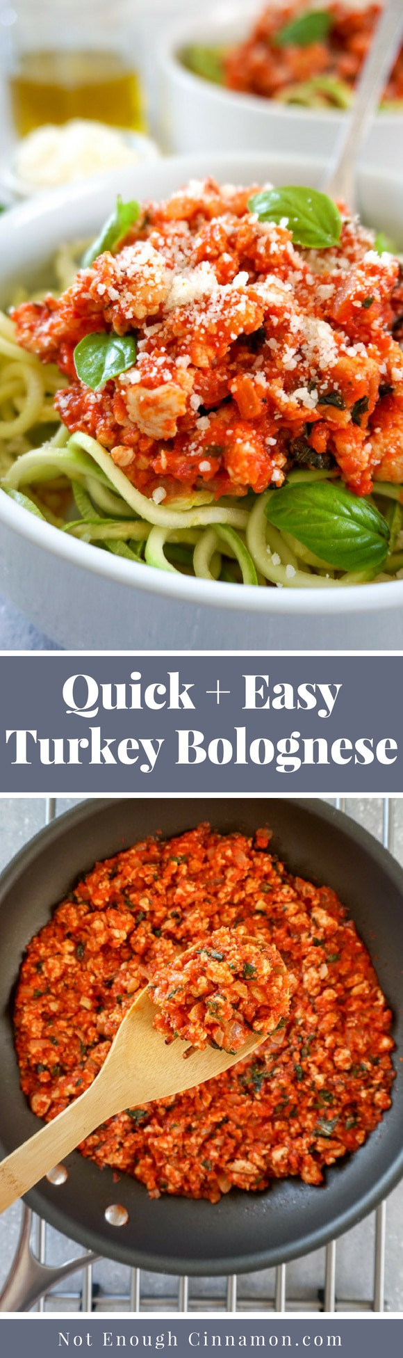 A quick and easy turkey bolognese sauce you can make in 20 minutes. Serve them with zucchini pasta for a healthy, low carb and gluten free meal #glutenfree #lowcarb #cleaneating #dinner #easyrecipe #easydinner #easyhealthydinner Recipe on NotEnoughCinnamon.com