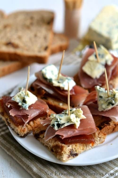 Quince, Prosciutto and Blue Cheese Pintxos recipe - served on a small white plate