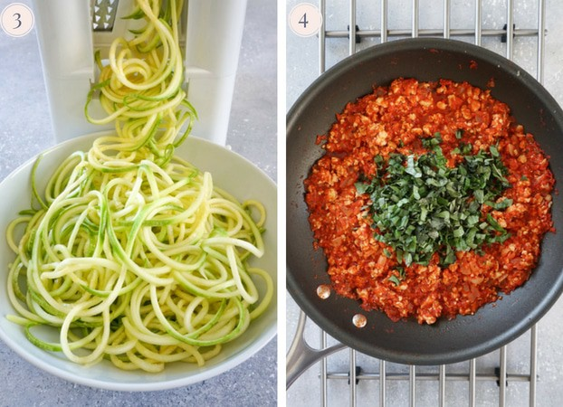 A collage of two photo, one showing zucchini noodles being cut with a spiralizer and the other turkey bolognese sauce topped with fresh chopped basil leaves in a skillet.